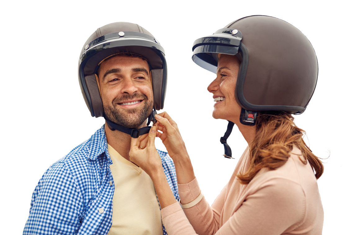Two people with helmets